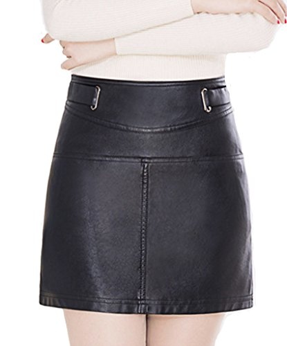 helan-womens-short-pu-leather-high-waist-mini-skirts-black-uk-10