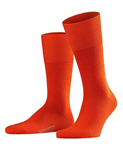 FALKE Herren Airport Woll-/ Baumwoll Strümpfe Einfarbig Business Socken, Blickdicht, Ziegel, 41-42