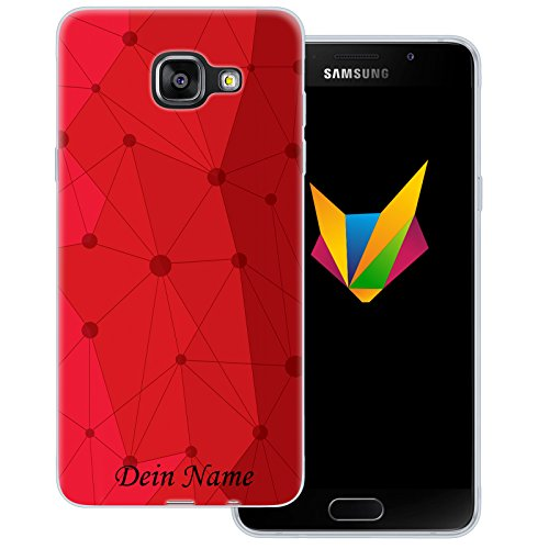 Mobilefox Grafik mit Namensdruck transparente Silikon TPU Schutzhülle 0,7mm dünne Handy Soft Case für Samsung Galaxy A5 (2016) Grafik Atomium Rot