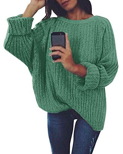 Tomwell Damen Strickpullover Langarm Rundhals Pulli Loose Oversize Einfarbig Pullover Herbst und Winter Strickpulli Pullover Armeegrün DE 36