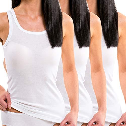 HERMKO 17325 3er Pack Damen Longshirt aus Baumwolle/Modal, Farbe:weiß, Größe:44/46 (L) -