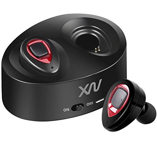 XIAOWU Auricolari Wireless Bluetooth,con Microfono Integrato e Base di Ricarica, Effetto Audio Stereo con Cancellazione del Rumore Compatibili con Dispositivi Apple e Android (UK-K5-rosso)