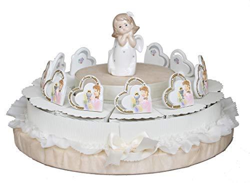 Maison party by p.l.t. srls torta prima comunione con angioletto bimba ceramica centrale e bomboniere da appoggio bimba comunione (torta da 12 pezzi)
