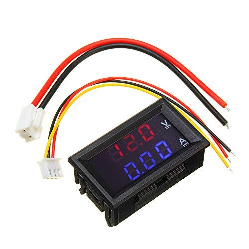 """LaDicha 3Pcs Mini Digital Voltmeter Ammeter Dc 100V 10A Panel Amp-Volt-Spannungsstrom Meter Tester 0,56\""""Blue Red Dual Led-Display"""