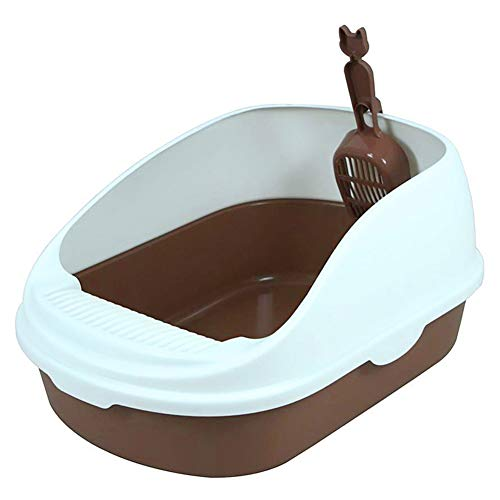 DRETI Katzenklo Katzentoilette Scoopless Litter Tray Sieben Toilettenbox High Sided Rim Pan Loo, 49 * 34 * 23,Brown
