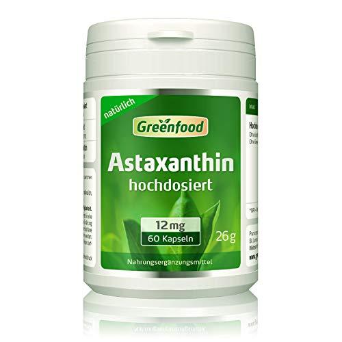 Greenfood Astaxanthin, 12 mg, hochdosiert, 60 Kapseln - natürliches starkes Carotinoid, ohne künstliche Zusätze, ohne Gentechnik.
