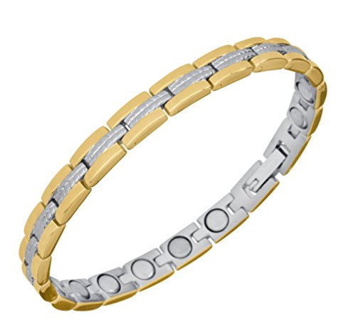 9cb5dd324871 Sabona of London Lady Regal Duett - Brazalete de acero inoxidable con 16  imanes Talla