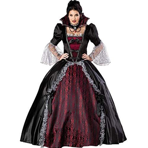 Charakter Kostüm Holiday - JINGJING Vampire Cosplay Kostüm Party Kostüm Erwachsene Damen Weihnachten Halloween Festival/Holiday Lace Satin Schwarz/Schwarz/Rot,M