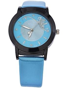 Souarts Damen Blau Schmetterling Kunstleder Armbanduhr Quartzuhr Analog mit Batterie