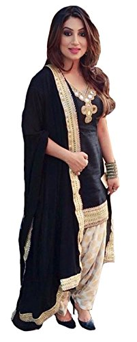 Clickedia Women\'s Semi Stitched Heavy Banglory Silk Black & Beige Patiala Suit With Dupatta - Dress material