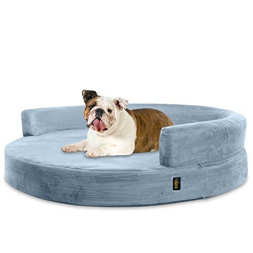 KOPEKS Sofa Redondo Cama Gris para Perro Perros Mascotas Tamaño Grande con Memoria Viscoelástica Colchón Ortopédico 90 cm Diámetro - Round Lounge L Grey