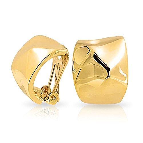 Geometrische GehäMMert Hälfte Hoop Creolen Ohrclips Ohrringe Für Damen Nicht Durchstochene Ohren 14K Vergoldet Messing