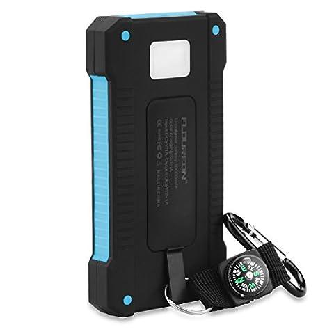 FLOUREON Batterie Externe Portable Batterie de Secours Solaire Etanche 10000mAh
