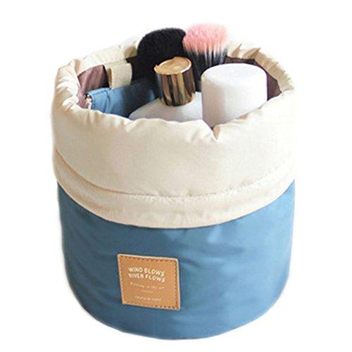 DELEY Voyage Kit Cylindrical Forme Drawstring Cosmétiques Maquillage Brosse Bijoux Storage Sac Bleu
