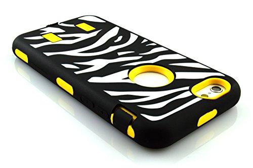 meaci (TM) Coque pour iPhone 6Plus 14cm Étui de luxe 3en 1Combo hybride High Impact Corps ArmorBox Coque rigide en silicone et PC Coque de protection avec Zebra Imprimé Zèbre (Jaune)