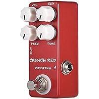 Lwieui Efectos de Guitarra Efectos de Guitarra Pedal de distorsión Full Metal Shell Verdadero de Puente 4 Botones funcionales Distorsión y Overdrive (Color : Red, Size : One Size)