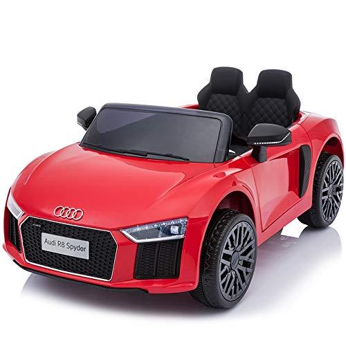TOYSCAR electronic way to drive Auto Macchina Elettrica 12V R8 Spyder per Bambini LED MP3 con Telecomando Sedile in Pelle Ross