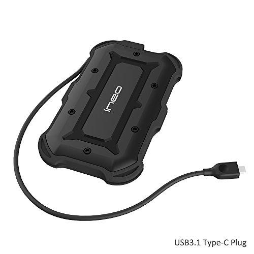 USB 3.1 Type C to SATA III Case Esterno per Disco Rigido 2.5 inch – ElecGear USB C IPX6 IP6X Portatile Protezione all'urto di grado militare resistente all'acqua da 2,5 pollici - HDD SSD Hard Drive Enclosure con UASP