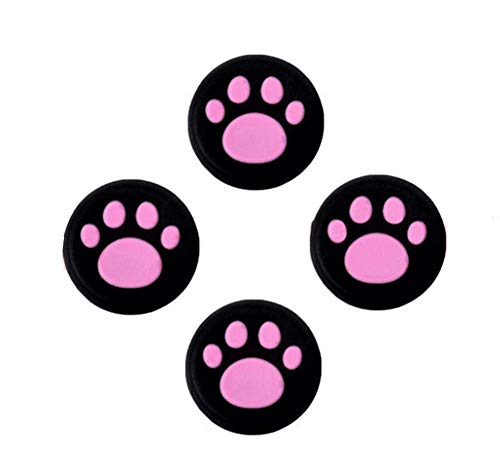 Analog Silikon Joystick Joy Stick Griff Gap Cover Thumbstick Daumen Stick Griff Gap Cover für PS4, PS3, Xbox One, Xbox 360, PS2Controller (4x Hot Pink Katze Hund Paw)