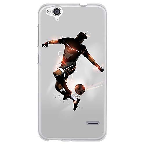 BJJ SHOP Étui Transparent pour [ ZTE Blade S6 Flex ], Coque en Silicone Souple TPU, Design: Footballeur avec Ballon et éclairs de lumière