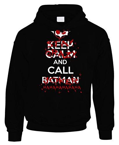 Felpa con cappuccio Keep calm and call Batman..or Joker? - in cotone by Fashwork