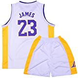 Sokaly Ragazzi Ragazze Chicago Bulls Jorden # 23 Curry#30 James#23 Pantaloncini da Basketball Jersey Set di Abbigliamento Sportivo Maglie Top e Shorts (Altezza 100-180cm) (Bianca#Lakers, XL(Bambino))