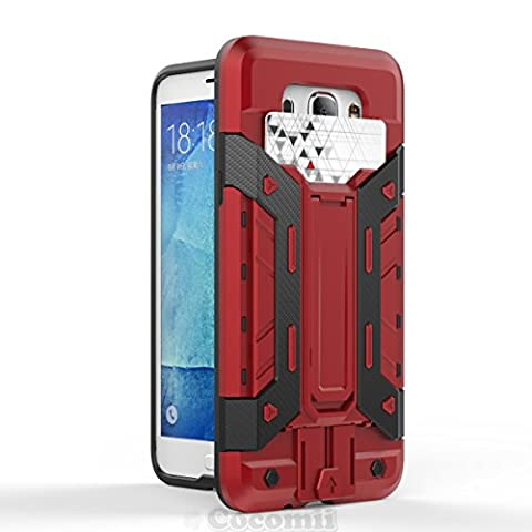 Galaxy J7 2016 Coque, Cocomii Transformer Armor NEW [Heavy Duty] Premium Built-in Multi Card Holder Kickstand Shockproof Hard Bumper Shell [Military Defender] Full Body Dual Layer Rugged Cover Case Étui Housse (Red)