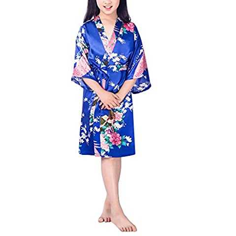 Waymoda Girls Luxury Silky Satin Evening Dressing Gown, Kids Peacock and Blossoms Pattern Kimono Robe, 10+ Color, 6-14 Year Old Sizes Optional - Sapphire