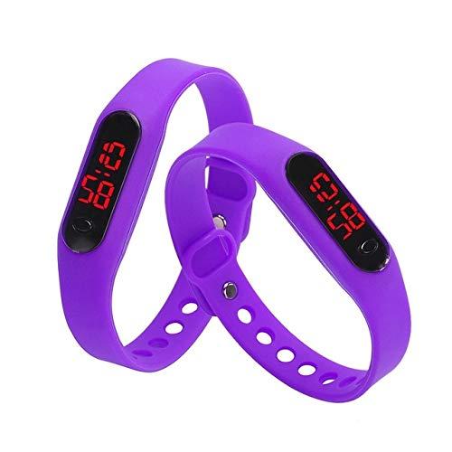 Warmhome WARM nach Hause Moderne empfindliche Sportuhren Gummi-LED Frauen-Mens-Datums-Sport-Armband-Digital-Armbanduhr (Farbe : Violett)