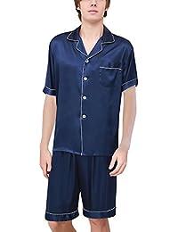 8ae7fce22 Yanqinger Hombre Seda Pijamas de 2 Piezas con Mangas Corta Verano Elegante  Clásico Respirable Estampado Cuadros