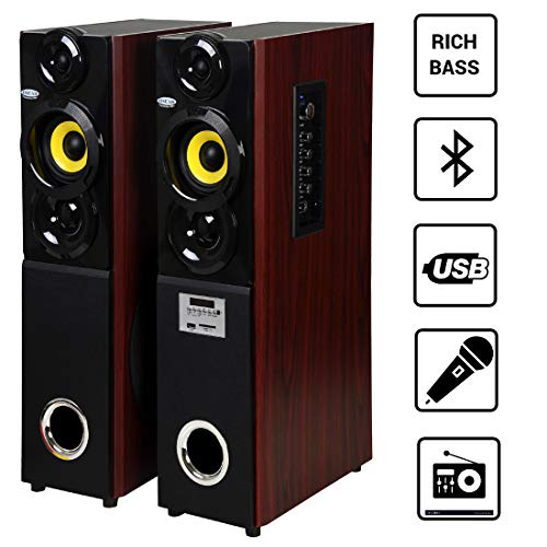 OSCAR OSC-16700BT - 2.0 Tower Bluetooth Speaker with Echo Control Karaoke Mic and 2 Slot for External Mic(Black)