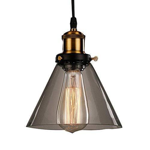 JZMB Industrie Retro Anhänger Glasschirm Anhänger Deckenleuchten Vintage Industrie Metall Bronze Glas Deckenlampe Pendelleuchte Schatten Haus Dekoration Beleuchtung für Küche Loft Schlafzimmer Office -