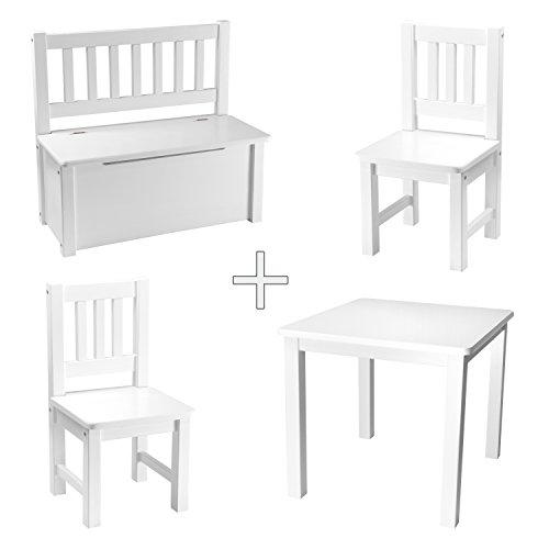 Kindersitzgruppe Holz Massivholz von Rabando® WEISS mit Kinder-Truhenbank 2x Kinderstuhl Kindertisch massiv