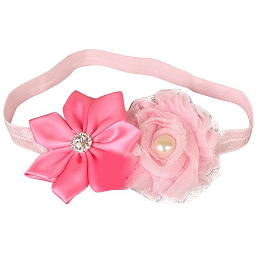 Happy Cherry-Fascia capelli, in tessuto, non a maglia, per neonati Filles-Fascia in Lace con nodo a forma di fiore, compleanni, matrimoni, feste/cerimonia, 12 colori Multicolore C 8 taille_unique