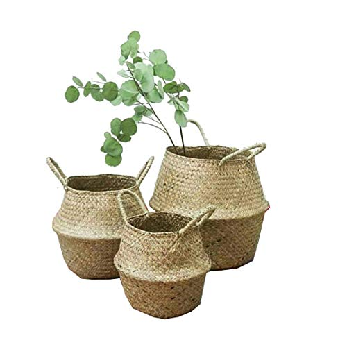 Natural Sea Grass basket, Goodchanceuk 3pcs/set cestino di stoccaggio con manico pieghevole vaso appeso vaso decorativo in 3 dimensioni, 20 x 17 cm/22,5 x 24 cm/24,5 x 28 cm