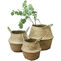 Natural Sea Grass cesta, goodchanceuk 3pcs/set tejido cesta de almacenamiento con asa plegable jarrón de flores para colgar maceta decorativa 3tamaños 7,87