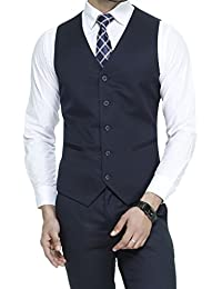 ManQ Men's V.Neck Five Button Slim Fit Formal/Party Waist coat - 11 Colors