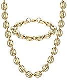 BE STEEL 11MM Edelstahl Halskette Armband Set für Herren Damen Silber Gold Kaffeebohne Curb Panzerkette Kette Kubaner Biker Punk Halskette 56-61 cm Armband 21.5 cm