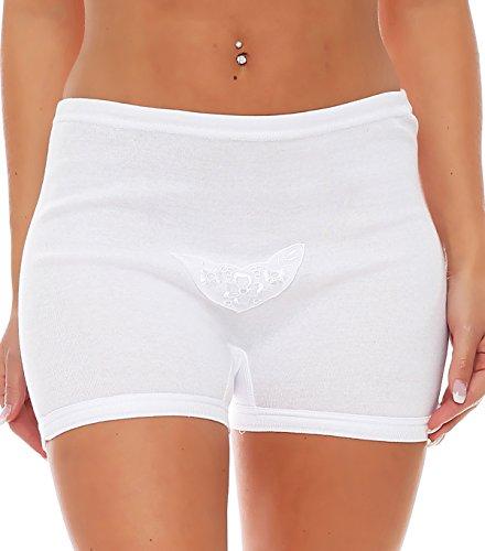 3er Pack Damen Slip mit Bein oder ohne Bein, weiß oder mit Blumen Muster (Schlüpfer, Unterhose) 438-444 441