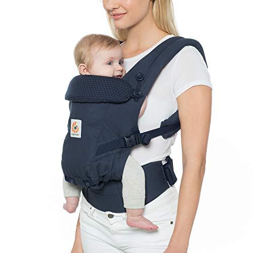 Ergobaby Babytrage für Neugeborene bis Kleinkind, Navy Mini Dots Adapt 3-Positionen Ergonomische Baby-Tragetasche Kindertrage Rückentrage