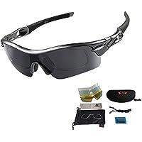 Unisex Radbrille Sportbrille Sonnenbrille, UV-Schutz, 5 Wechselgläser inkl. Schwarze polarisierte Linse, für Outdooraktivitäten wie Radfahren Laufen Klettern usw.