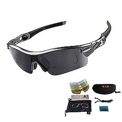 VILISUN Unisex Radbrille Sportbrille Sonnenbrille, UV-Schutz, 5 Wechselgläser inkl. Schwarze polarisierte Linse, für Outdooraktivitäten wie Radfahren Laufen Klettern usw. (Schwarz)