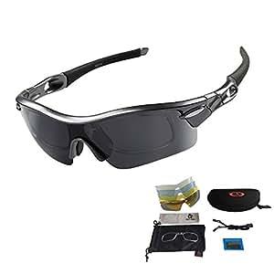 Occhiali Ciclismo Occhiali Sportive per Bici in Corso Sunglasses Cycling Occhiali da Sole Multi funzione per Corsa Guida, Super Leggero e Infrangibile Protezione UV con 5 Lenti Intercambiabili (nero)