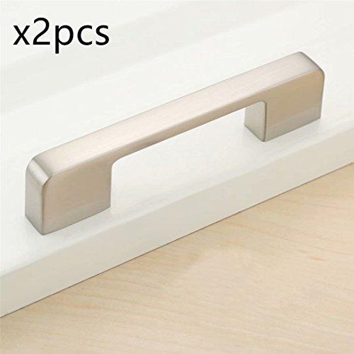 FBSHOP(TM) 2pcs Nickel gebürstet Pull Knöpfe für Schränke, Möbeltüren und Schubladen in Küchen, Schlafzimmer und andere Räume - für den privaten oder öffentlichen Gebrauch, in Ihrem Haus oder Büros-Lochabstand:96mm (Türgriffe Innen In Bulk)