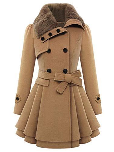 Gaodaweian Zweireihiger Umlegekragen-Mantel Plus Size Lace Insert Plaid Zip Fly Coat Offene Lange Blazer Damen (Color : Khaki-L) Plaid Belted Coat