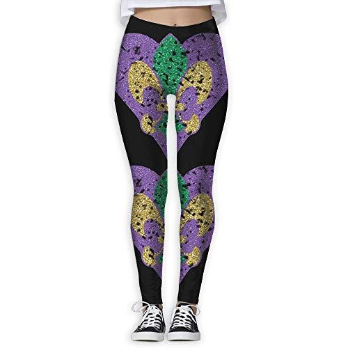 QIAOJIE-High Waist Ultra Soft Lightweight Leggings, Mardi Gras Carnival Fleur De Lis Women's Stretchable Sports Running Yoga Workout Leggings Pants