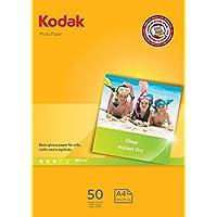 Kodak Gloss Insta Dry- Papel fotográfico A4, 50 hojas, 180 g