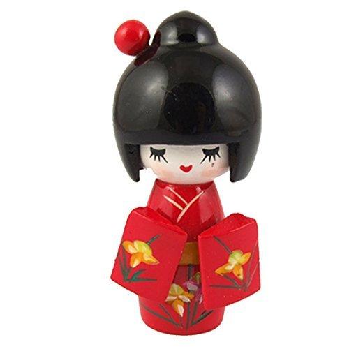 DealMux floral japonés kimono muchacha sonriente de madera de Kokeshi muñeca de juguete rojo