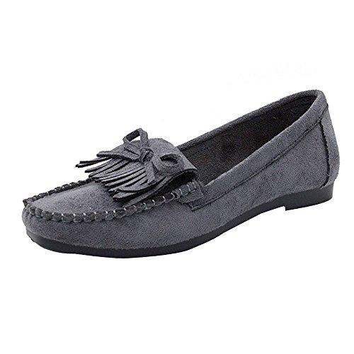 Dorical Erbsenschuhe Damen Slipper, Mokassins Bootsschuhe Low-Top mit Quaste Wildleder-Flach-Schuhe für Das Fahren geeignet Atmungsaktiv Espadrilles Ultra Bequem Sale(Grau,39 EU)