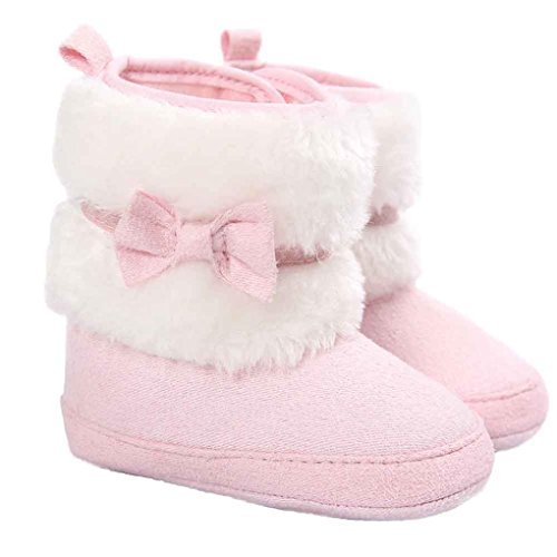 Culater® Bambino Bowknot tenere in caldo morbido Sole neve Presepe Shoes Boots (11, Rosa)